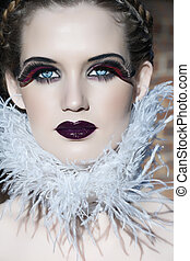 goth beauty - blond beauty with pale skin and goth make-up...