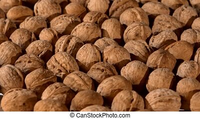 A lot of walnuts, rotation, background
