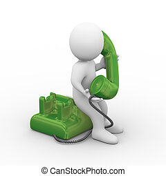 3d person receiving phone - 3d illustration of man holding...