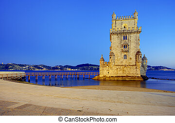 Belem Tower - The Belem Tower on the Tagus River. Lisbon,...