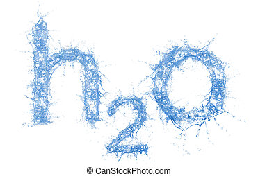 H2O - Stock image of water formula made out of water, very...