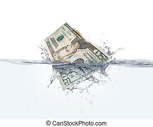 Money on water - Stock image of Twenty dollar bill splashing...