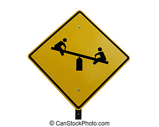 Playground Sgn - Tetter totter childrens playground caution...