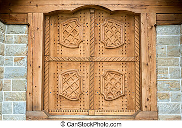 Old wooden gate Front View