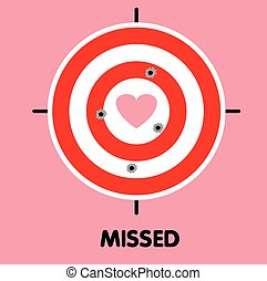 All shoot missed heart target vector illustration