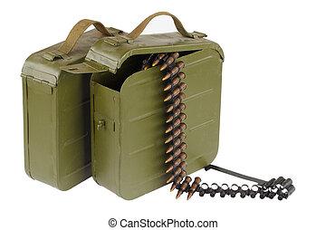 Soviet Maxim gun green ammunition box with machine-gun belt...