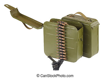Soviet Maxim gun green ammunition box with machine-gun belt...