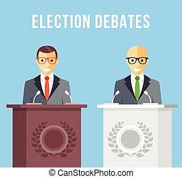 Election debates, dispute concept