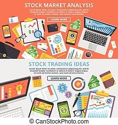 Stock market analytics concept - Stock market analytics,...