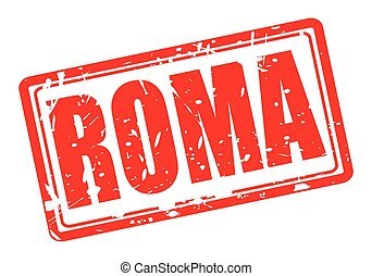 Roma red stamp text on white