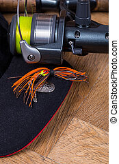 closeup fishing spinner bait with reel