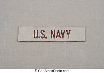 KIEV, UKRAINE - May 9, 2015. US NAVY branch tape on uniform...