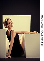classical dance - Elegant beautiful ballet dancer in black...