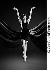 lightness - Graceful beautiful ballet dancer posing at...