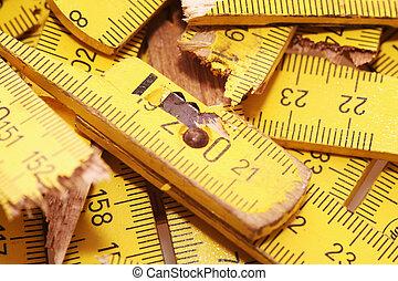 Broken yardstick - Pieces of a wooden yardsick