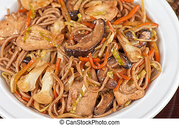 buckwheat noodles with chicken vegetables mushrooms and...