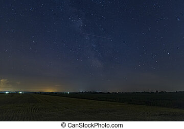 Lone Perseid Meteor - A lone Perseid Meteor streaks in the...