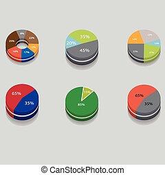 set of 3D pie charts.