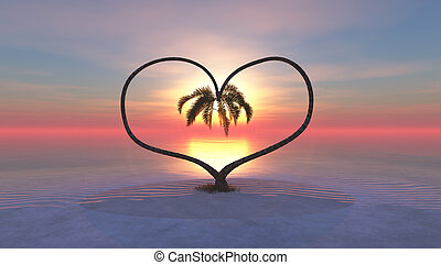 forming a heart two palms at sunset on a tropical island