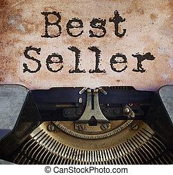 Bestseller concept - black vintage typewriter with old...
