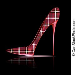 big plaid shoe - dark background and the red plaid ladys...