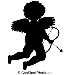 Cupid Silhouette for Valentines Day - Illustrated black...