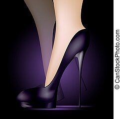 feet in black shoes - dark background and feet in black...