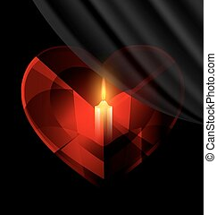 heart and candle - dark background and red heart-crystal...