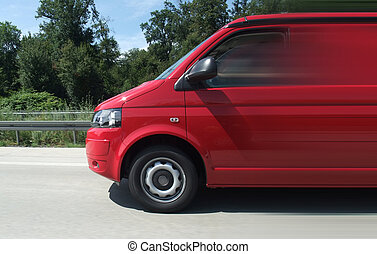 minibus on the road - driving scenery including a red...
