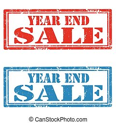 Year End Sale - Set of grunge rubber stamps with text Year...