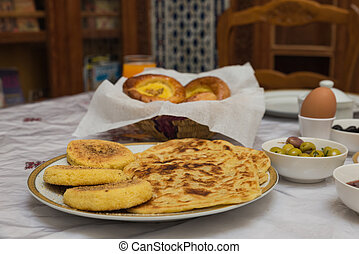 The traditional arabian breakfast mixed with western food in...