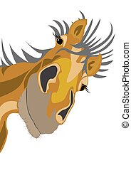 Old horse Horse head in cartoon style