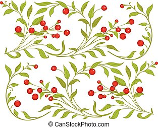 Berries ornament - Red huckleberries vignette/background