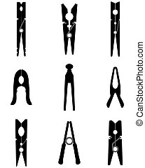 clothespins - Black silhouettes of different clothespins,...