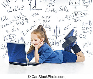 Child Looking at Laptop, Kid with Computer, Little Girl and Notebook, Mathematics Formula, School Education