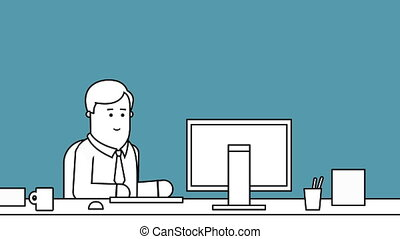 Businessman working at desk in office black and white...