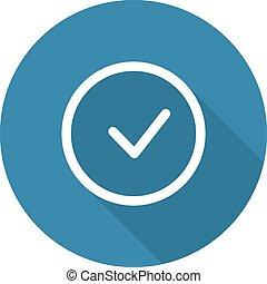 Accept Icon. Confirm Button. Flat Design. Long Shadow....