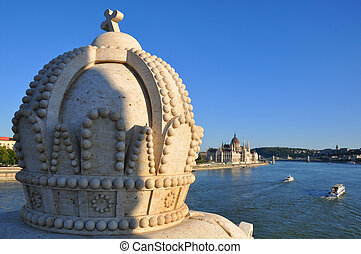 The crown on the bridge over the Danube and the Parliament...