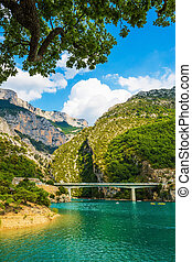 Big bridge over river Verdon in Provence - National park...