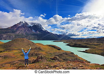 The woman raised her hands - Strong winds in the Chilean...