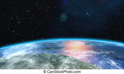 Sunrise over the Earth, 3d animation