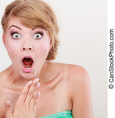 wide eyed woman surprised girl open mouth - Emotional facial...