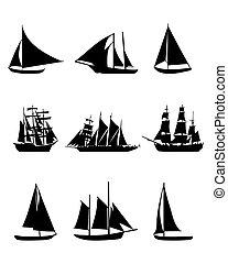 sailing boats - Black silhouettes of sailing boats, vector