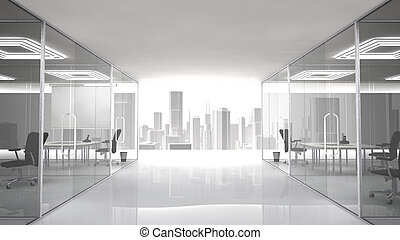 Pleasant workplace with urban view. The offices and meeting...