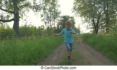 Little child with scoop-net running in the country -...