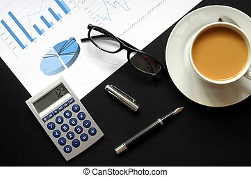 coffee break concept with mug on black desk in business...