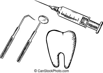 Icons of tooth, syringe, mirror and probe - Sketch icons of...