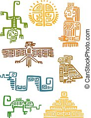 Aztec and maya ornamental symbols - Ancient aztec and maya...