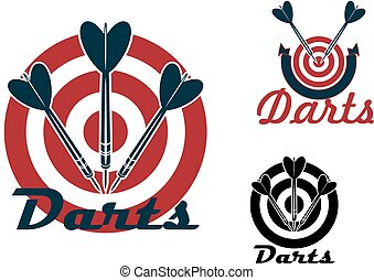 Darts emblems with dartboards and arrows - Darts sporting...