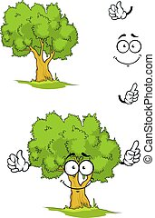 Cartoon tree with attention sign - Cartoon smiling green...